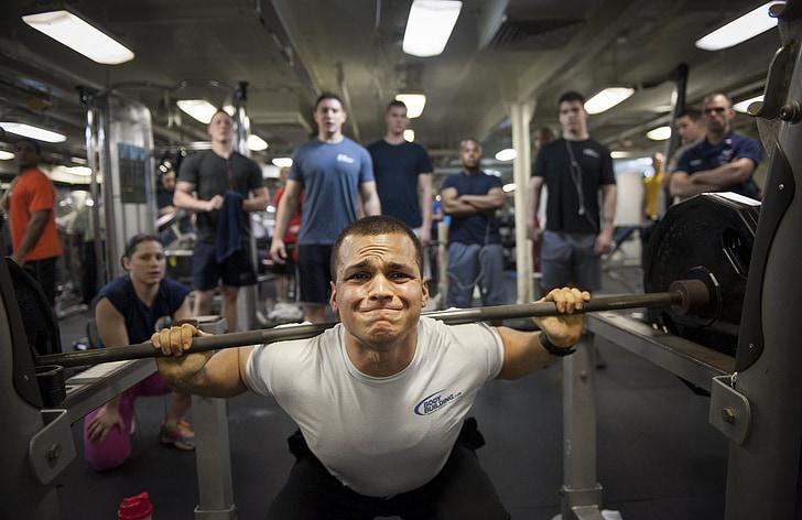 pesos, levantamento, poder, macho, ginásio, aptidão, jovem