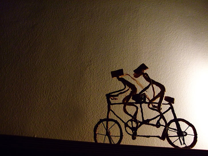 bicicletes, Associació, junts, cooperació, dos, passeig, equip