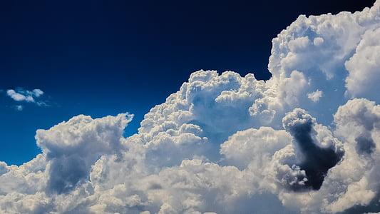 chmury, Cumulus, niebo, Natura, dramatyczne, Cloudscape, światło