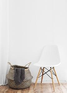 chair, wall, living room, furniture, cozy, decor, setup