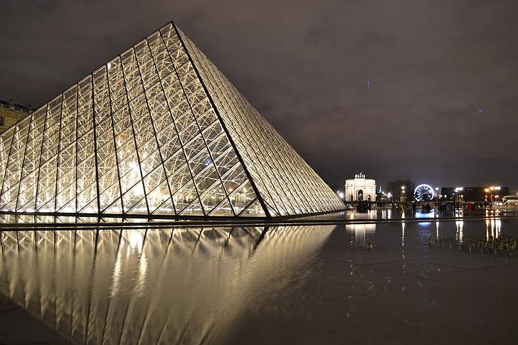 Pariis, öö, Louvre, püramiid, klaas, peegeldus, vee