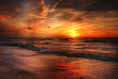 beach, north sea, sea, sunset, water, abendstimmung, scenics
