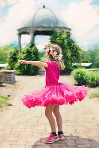 little girl twirling, dancing, outdoors, summer, pretty, pink, pink color
