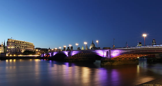 night city, bridge, night, city, river, cityscape, downtown