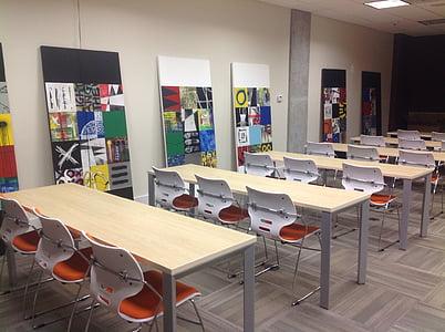 träningsrum, företag, skrivbord, skolan, undervisning, studera, stolar