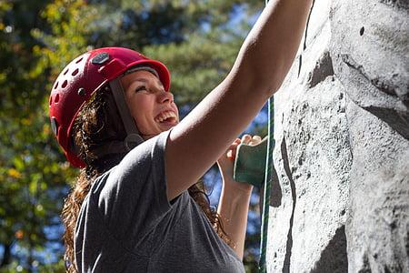 climbing, girl, fun, happy, rock climbing, rock wall, harness