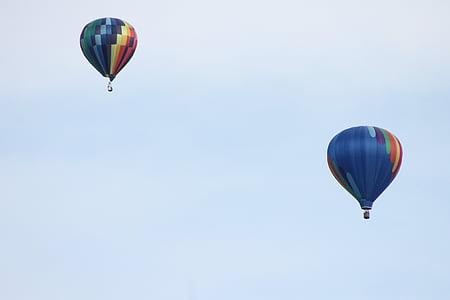 varmluftsballonger, Sky, luft, ballong, blå, flyg, kul
