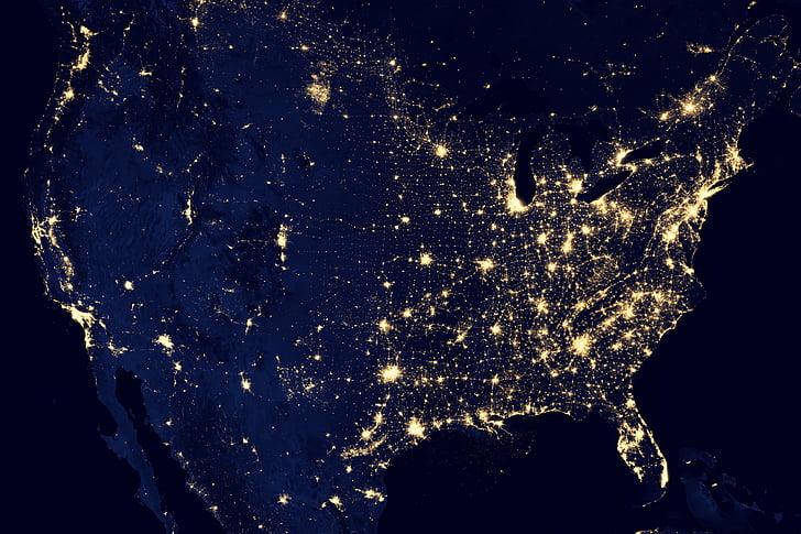 Terre, lumières, NASA, planète, espace, monde