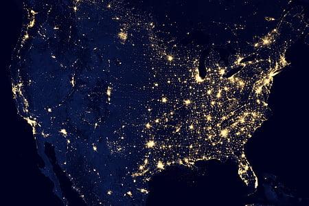 terra, llums, NASA, planeta, espai, món