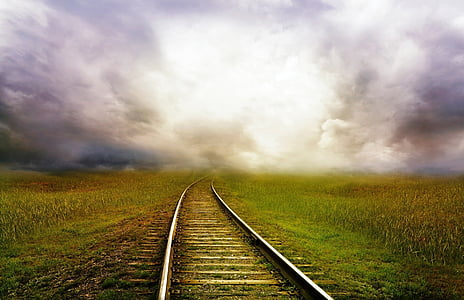 photo, green, brown, grasses, train, track, clouds