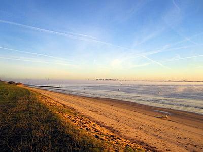 beach, sunrise, sand, water, ocean, morgenstimmung, moment