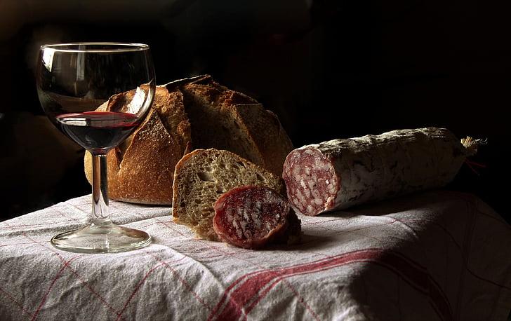 aperitiu, vi, beguda, vidre, morta, taula, l'alcohol