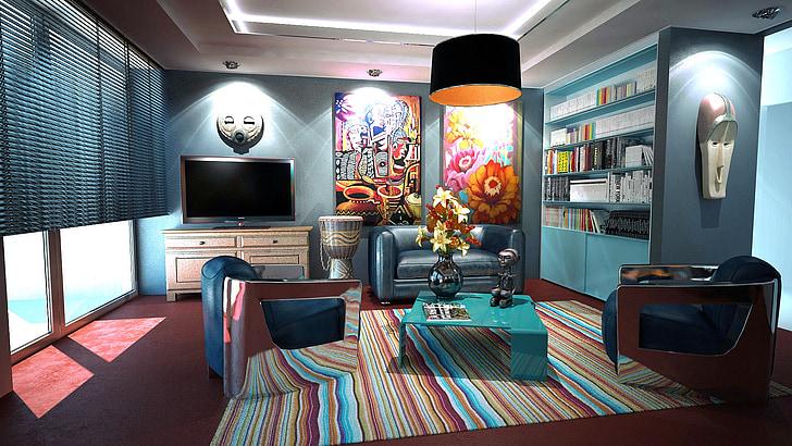 Apartamentai, kambarys, interjero dizainas, apdaila, dizainas, vidaus kambario, baldai