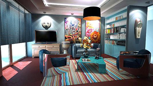 Apartament, sala, disseny d'interiors, decoració, disseny, Habitació interior, mobles