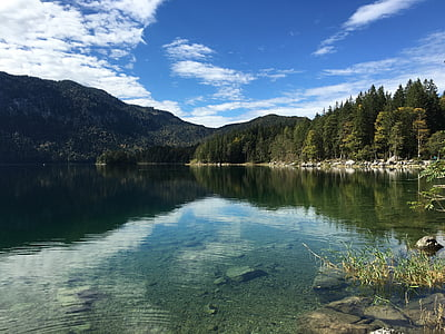 Příroda, hory, alpské, jezero, Německo, krajina, Horská krajina