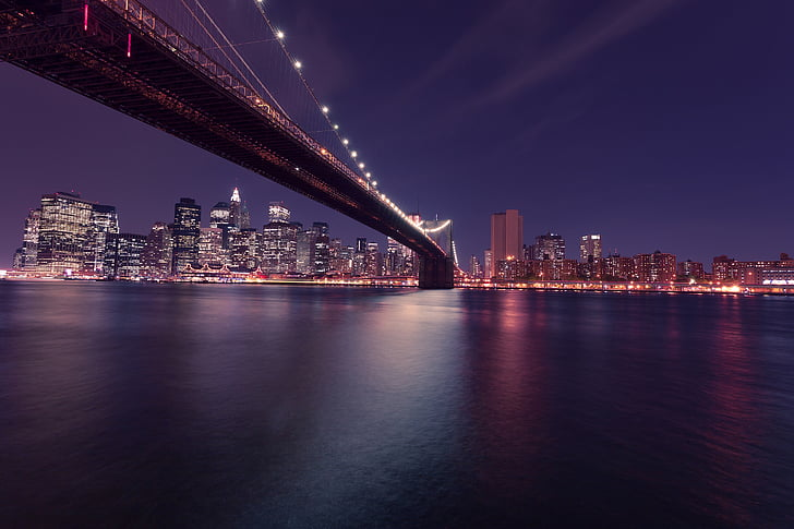 new york city, brooklyn bridge, night, skyline, new york, usa, america