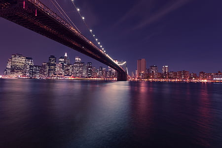 new york city, Brooklyn bridge, natt, Skyline, new york, USA, Amerika