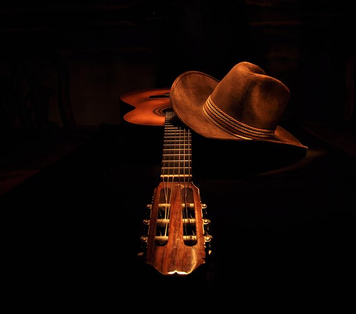 guitar, classical, cowboy hat, light painting, dark, music, musical Instrument