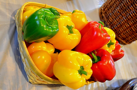 paprika, veggies, paprika, édes paprika, sárga, piros, élelmiszer