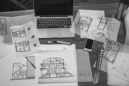 architectural design, architecture, black and-white, blueprint, business, drawings, house