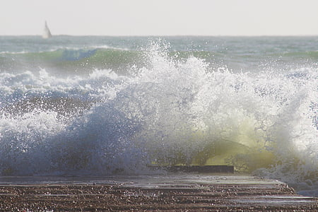κύμα, στη θάλασσα, surf, σπρέι, αφρώδες υλικό, θραυστήρα, Ωκεανός