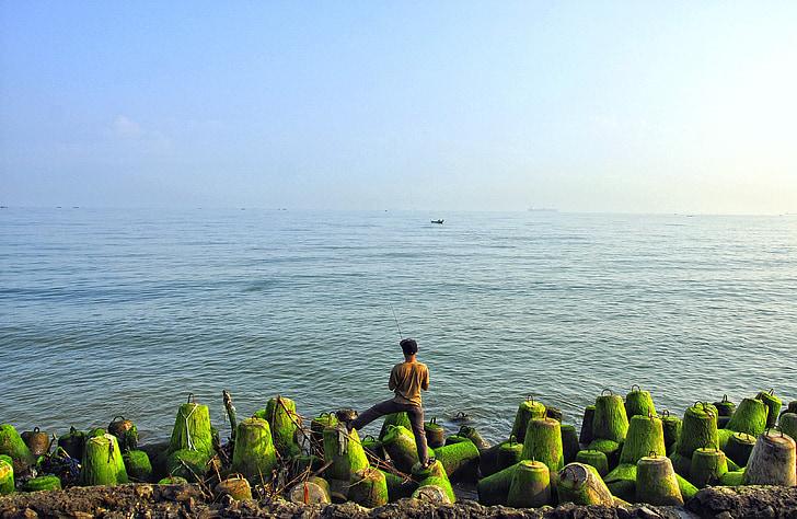mnie wędkarstwo, morze jawajskie, człowiek, Indonezyjski, Semarang