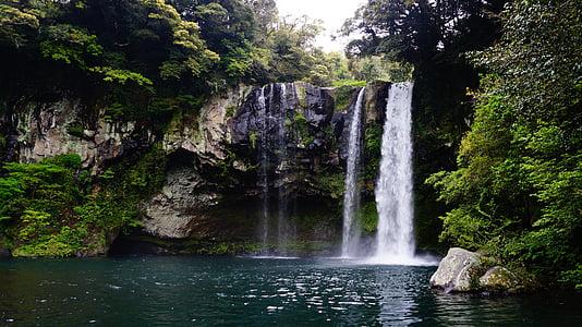 Jeju island cheonjiyeon juga, jeju cheonjiyeon juga, Cheonjeyeon waterfall, Cheonjeyeon, juga, loodus, vee