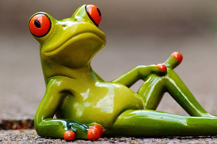 granota, estirat, relaxat, valent, resta, figura, divertit