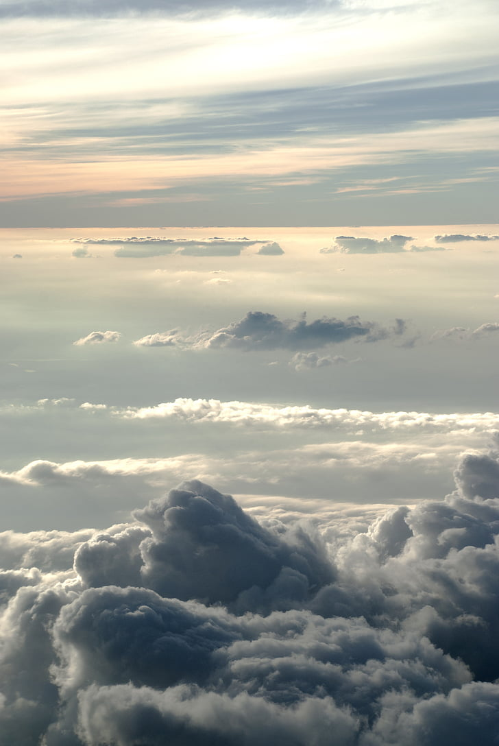 clouds, sky, sunset, grey, depth, sun, backlight