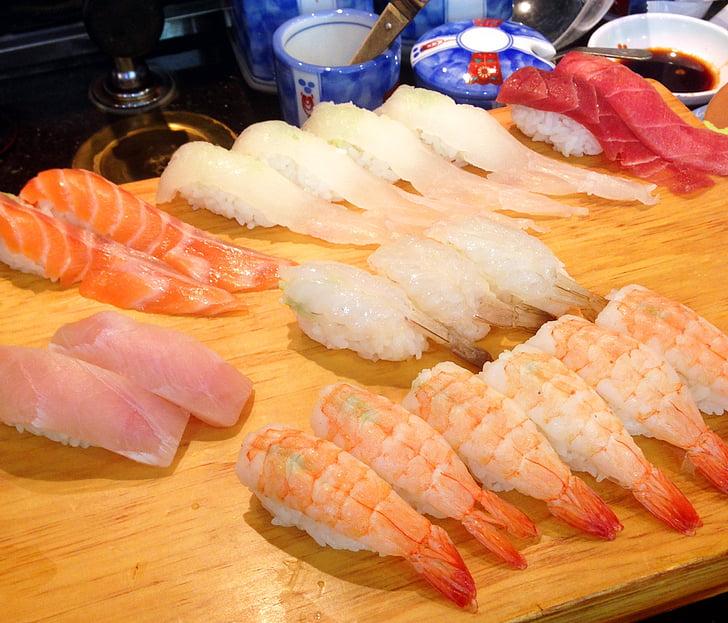 sushi, japonès, salmó, temps, peix, gambes, Aire suau