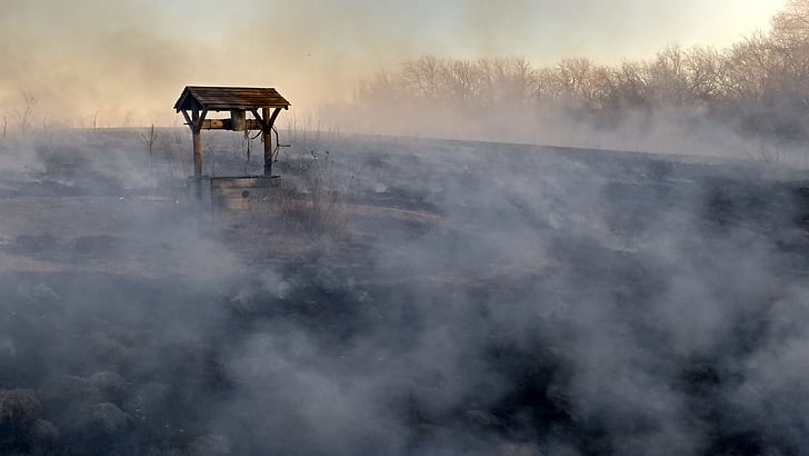 smoke, wishing well, burnt, well, fog, outdoors, day