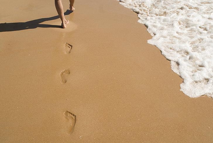 pijesak, otisci stopala, ispisuje, hodanje, otisci stopala, oceana, Obala