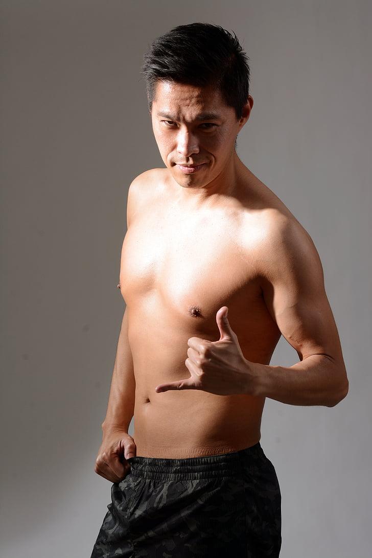 l'abdomen, adult, asiàtic, cos, gimnàs, penjar solt, home