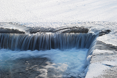 jõgi, jää, jõgi, talvel, lumi, vee, juga