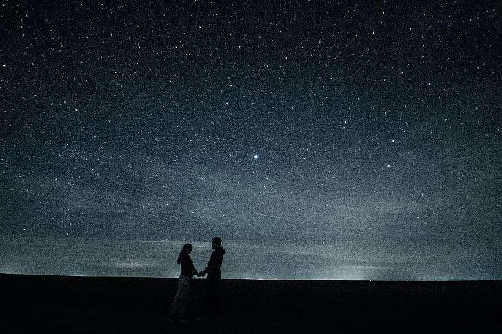 couple, amour, étoiles, exposition longue, câlin, artistique, paire