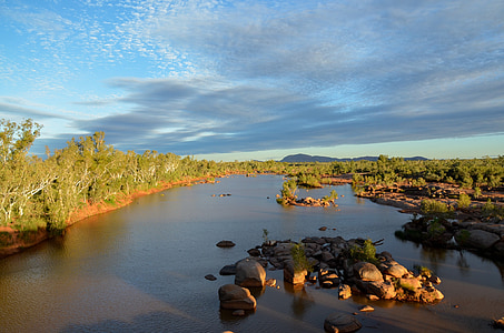 river, sunset, sunlight, scenic, landscape, nature, water