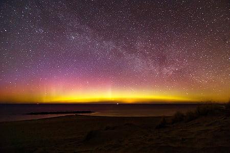 nordlys, Aurora, Danmark, aurora borealis, nat, stjerner, Andromeda