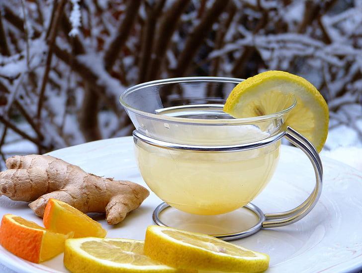 limone, ingver, oranžna, sneg, vroče, pijača, tee