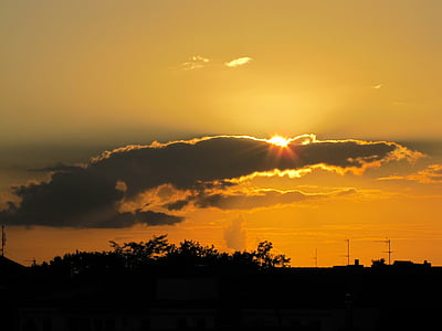 일몰, 태양, abendstimmung, 스카이, 구름, 저녁 하늘, 석양