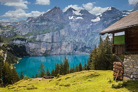 Cabana, Llac, muntanyes, refugi, paisatge, natura, alpí