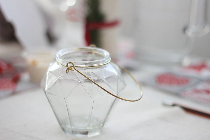 vidre, adorn, d'or, contenidor, candeler