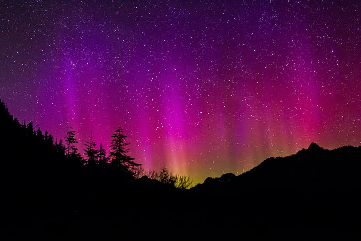 đèn phía bắc, bầu trời, đêm, cảnh quan, Thiên nhiên, tối, đầy màu sắc