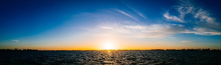 núvols, Llac, panoràmica, panoràmica, cel, posta de sol, l'aigua
