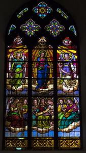 蒙斯, 教会, 彩绘玻璃窗, 彩色玻璃, 颜色, 天主教, 宗教
