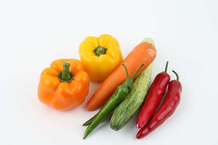 morötter, lök, gurka, grönsaker, vegetabiliska, friska, Vegetarisk