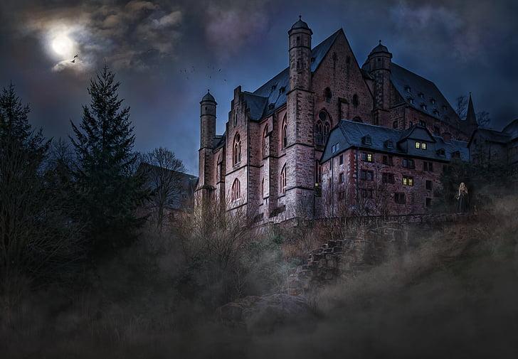 Castell, mística, estat d'ànim, llum de lluna, cel de nit, vel de núvols, boira