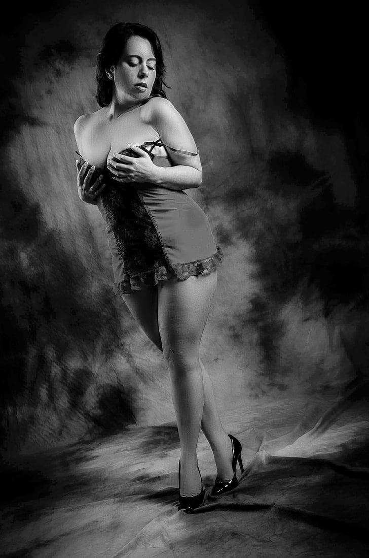 model de, corbes, monocrom, fotografia d'estudi, dona, acte de part de, eròtica