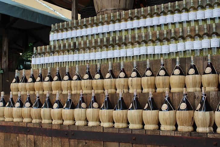 vin, flaskor vin, Enoteca, röd, flaskor, källare, bar