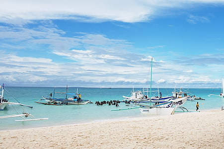 Filipinų Respublika, Boracay, jūra, dangus, jachta, paviršinis nardymas, paplūdimys