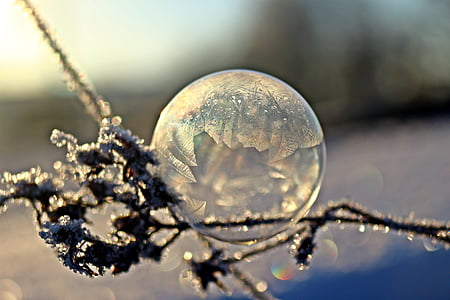 soap bubble, frost globe, frost blister, winter, eiskristalle, cold, frost
